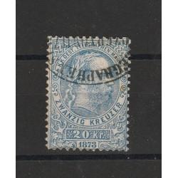 1873 AUSTRIA OSTERREICH BOLLI X TELEGRAFO 20 K AZZURRO  1 VAL USATO  CILIO MF56053