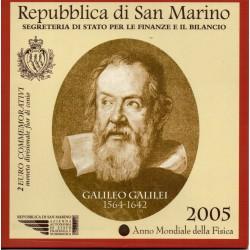 2005 SAN MARINO 2 EURO COMMEMORATIVO GALILEO GALILEI FDC IN CONFEZIONE MF28727