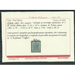 1867 REGNO ITALIA 20 C TORINO EFFIGIE VITTORIO EMANUELE II MLH CAFFAZ MF23949