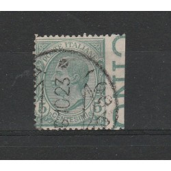 1908 ITALIA REGNO 5 CENT LEONI NON DENTELLATO A DX 1 VALORI USATO MF2840956414