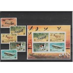 UGANDA  1977 FAUNA WWF  5  VAL 1 BF MF56570