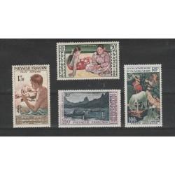 1958 POLINESIA FRANCESE PITTORI VARI 4  VALORI MNH MF56666