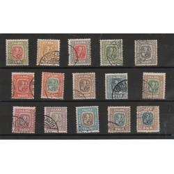 1907  ISLANDA ICELAND  FEDERICO VIII E CRISTIANO IX  15 VALORI  USATI  MF56692