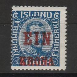 1926 ISLANDA ICELAND  EFFIGIE SOPRASTAMPATA EIN KRONE 1 VAL MLH  MF56680