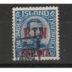 1926 ISLANDA ICELAND  EFFIGIE SOPRASTAMPATO EIN KRONE 1 VAL USATO  MF56684
