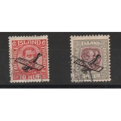 1928  ISLANDA ICELAND  AEREO IN SOPRASTAMPA  2 VALORI  USATI  MF56682