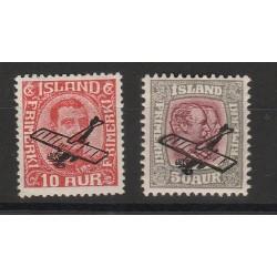 1928  ISLANDA ICELAND  SOPRASTAMPA CON AEREO   2 VAL  MLH   MF56685