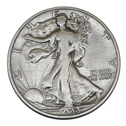 1943 - USA UNITED STATES - WALKING LIBERTY HALF DOLLAR - SILVER COIN MF41719