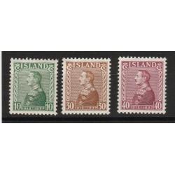 1937 ISLANDA ICELAND  CRISTIANO X   3 VAL MNH MF56770