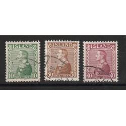 1937 ISLANDA ICELAND  CRISTIANO X   3 VAL USATI  MF56769