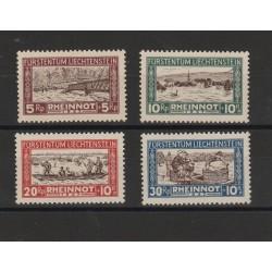 1928 LIECHTENSTEIN  PRO VITTIME INNONDAZIONE 4 VAL MNH BOLAFFI  MF56711