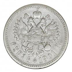 1901 RUSSIA IMPERO ZAR NICOLA II 1 RUBLO ФЗ ARGENTO SILVER COIN MF29019