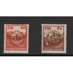 1933 LIECHTENSTEIN  SERV IZIO PAESAGGI SOPRASTAMPATI  2 VAL  MLH MF 56820