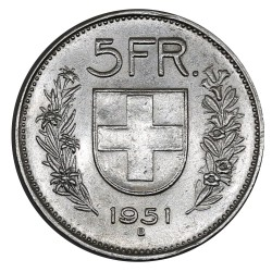 1951 SVIZZERA 5 FRANCHI - B - MONETA ARGENTO SVIZZERA TIPO I MF29038