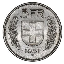 1951 SVIZZERA 5 FRANCHI - B - MONETA ARGENTO SVIZZERA TIPO I MF29040