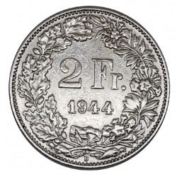 1944 SVIZZERA 2 FRANCHI - B - MONETA ARGENTO SILVER MF29060