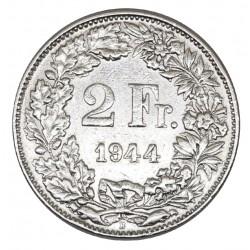 1944 SVIZZERA 2 FRANCHI - B - MONETA ARGENTO SILVER MF29068