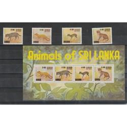 SRI LANKA  1981  FAUNA  ANIMALI  4 VAL + 1 BF MNH MF56842