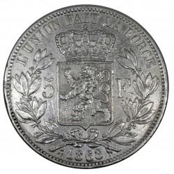 1868 BELGIO 5 FRANCS  LEOPOLDO II ARGENTO SILVER - MF29095
