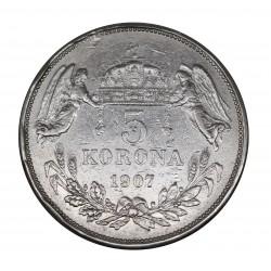 1907 UNGHERIA FRANZ JOSEF 5 KORONA ARGENTO - SILVER MF29088
