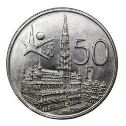 1958 BELGIO 50 FRANCS EXPO BRUXELLES - FRANCESE - ARGENTO SILVER - MF29232