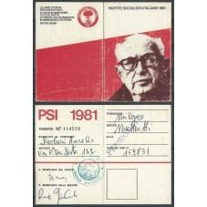 TESSERA PSI / ANNO 1981/...