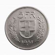 1951 SVIZZERA 5 FRANCHI - B...