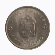 1947 FILIPPINE 50 CENTAVOS...