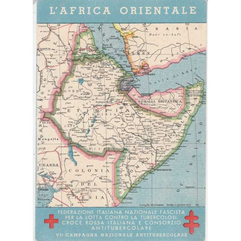 Cartina Italia E Africa.Cartolina Cartina Dell Africa Orientale Mf71533 Ebay