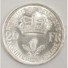 1934 BELGIO 20 FRANCHI...