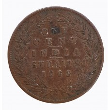 1862 INDIA STRAITS ONE CENT...