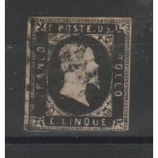 SARDEGNA 1851 5 CENT NERO N...