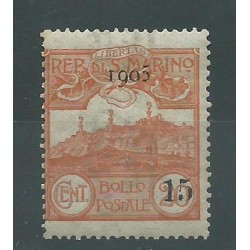 1905 SAN MARINO VEDUTA DEL 1903 SOPRASTAMPATA 1 V MLH SASS N. 46 MF25530