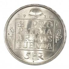 1936 SVIZZERA 5 FRANCHI PRO...