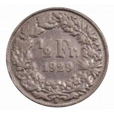1929 SVIZZERA 1/2 FRANCO -...