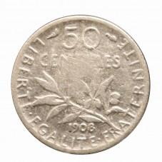 1908 FRANCIA 50 CENTIMES -...