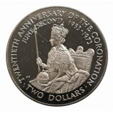 1973 COOK ISLANDS 2 DOLLARI...